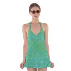 Green pattern Halter Swimsuit Dress by Valentinaart