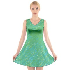 Green pattern V-Neck Sleeveless Skater Dress by Valentinaart