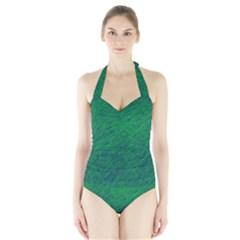 Deep Green Pattern Halter Swimsuit by Valentinaart