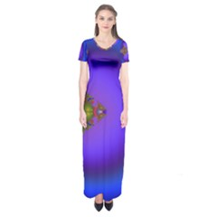 Into The Blue Fractal Short Sleeve Maxi Dress