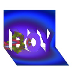Into The Blue Fractal Boy 3d Greeting Card (7x5)