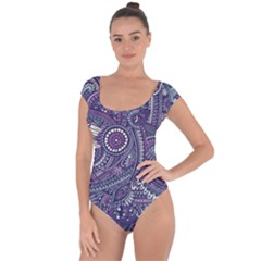 Purple Hippie Flowers Pattern, Zz0102, Short Sleeve Leotard  by Zandiepants