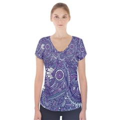 Purple Hippie Flowers Pattern, Zz0102, Short Sleeve Front Detail Top by Zandiepants