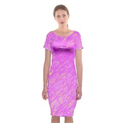 Pink Pattern Classic Short Sleeve Midi Dress by Valentinaart