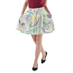 Hippie Flower Pattern Purple Yellow Green Zz0104 A-Line Pocket Skirt by Zandiepants