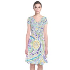Hippie Flower Pattern Purple Yellow Green Zz0104 Short Sleeve Front Wrap Dress