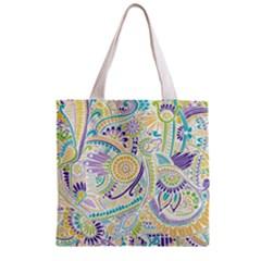 Purple, Green, Yellow Hippie Flowers Pattern, Zz0104 Zipper Grocery Tote Bag by Zandiepants