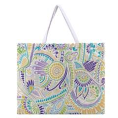 Purple, Green, Yellow Hippie Flowers Pattern, Zz0104 Zipper Large Tote Bag by Zandiepants
