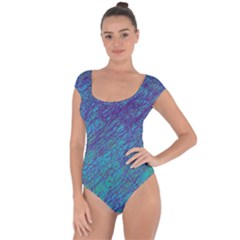 Blue Pattern Short Sleeve Leotard  by Valentinaart