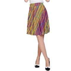 Yellow, Purple And Green Van Gogh Pattern A Line Skirt by Valentinaart