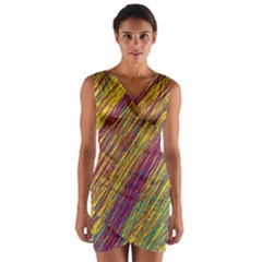 Yellow, purple and green Van Gogh pattern Wrap Front Bodycon Dress by Valentinaart