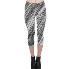 Black And White Decorative Pattern Capri Leggings