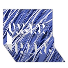 Blue Elegant Pattern Work Hard 3d Greeting Card (7x5)