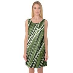 Green Decorative Pattern Sleeveless Satin Nightdress by Valentinaart