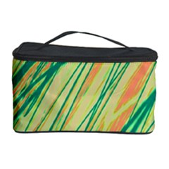 Green And Orange Pattern Cosmetic Storage Case by Valentinaart