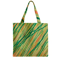 Green And Orange Pattern Zipper Grocery Tote Bag by Valentinaart