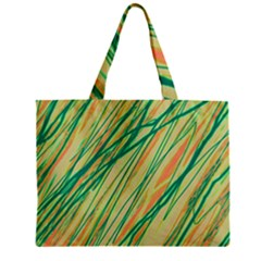 Green And Orange Pattern Zipper Mini Tote Bag