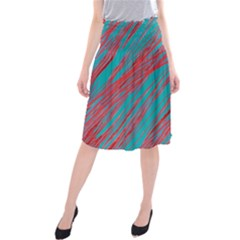 Red and blue pattern Midi Beach Skirt by Valentinaart