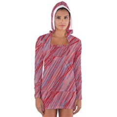 Pink And Red Decorative Pattern Women s Long Sleeve Hooded T Shirt by Valentinaart