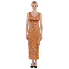 Orange Pattern Fitted Maxi Dress by Valentinaart