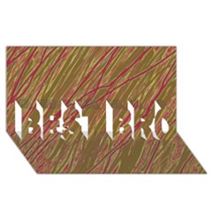 Brown elegant pattern BEST BRO 3D Greeting Card (8x4)  by Valentinaart