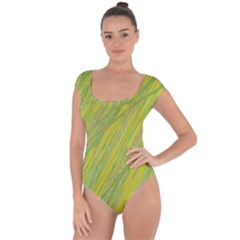 Green And Yellow Van Gogh Pattern Short Sleeve Leotard