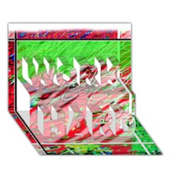Colorful Pattern Work Hard 3d Greeting Card (7x5)  by Valentinaart