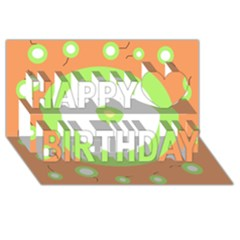 Green And Orange Design Happy Birthday 3d Greeting Card (8x4)  by Valentinaart