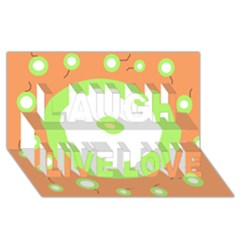 Green And Orange Design Laugh Live Love 3d Greeting Card (8x4)