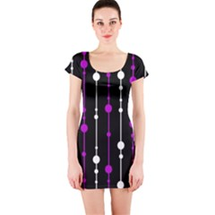 Purple, Black And White Pattern Short Sleeve Bodycon Dress by Valentinaart
