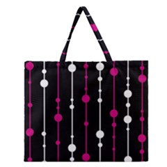 Magenta White And Black Pattern Zipper Large Tote Bag by Valentinaart