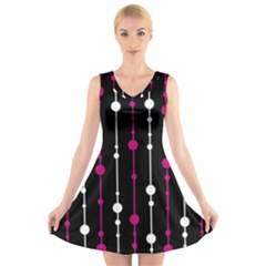 Magenta white and black pattern V-Neck Sleeveless Skater Dress by Valentinaart