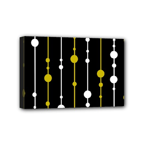Yellow, Black And White Pattern Mini Canvas 6  X 4  by Valentinaart