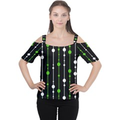 Green, White And Black Pattern Women s Cutout Shoulder Tee by Valentinaart