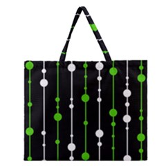 Green, White And Black Pattern Zipper Large Tote Bag by Valentinaart