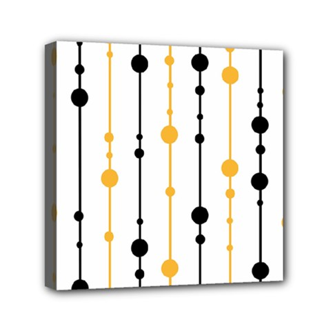 Yellow, Black And White Pattern Mini Canvas 6  X 6  by Valentinaart