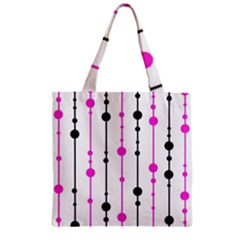 Magenta, Black And White Pattern Zipper Grocery Tote Bag by Valentinaart