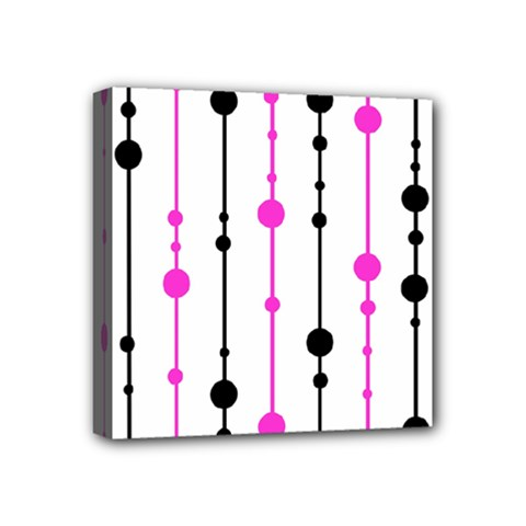 Magenta, Black And White Pattern Mini Canvas 4  X 4  by Valentinaart