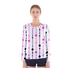 Magenta, black and white pattern Women s Long Sleeve Tee