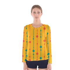 Yellow, green and red pattern Women s Long Sleeve Tee by Valentinaart