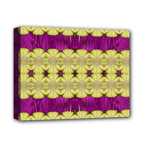 Purple Gold Floral And Paradise Bloom Deluxe Canvas 14  X 11  by pepitasart