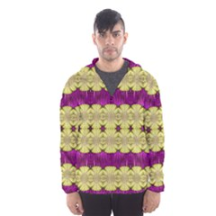 Purple Gold Floral And Paradise Bloom Hooded Wind Breaker (men) by pepitasart