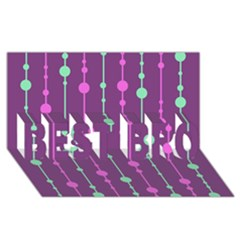 Purple And Green Pattern Best Bro 3d Greeting Card (8x4)  by Valentinaart