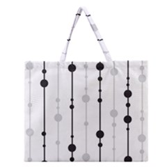 Black And White Elegant Pattern Zipper Large Tote Bag by Valentinaart