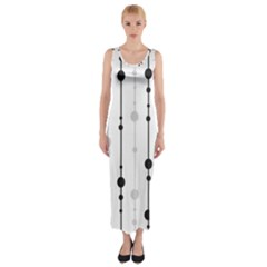 Black And White Elegant Pattern Fitted Maxi Dress by Valentinaart