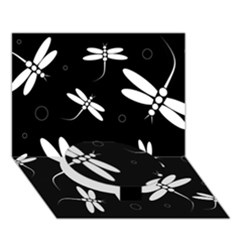 Dragonflies Pattern Circle Bottom 3d Greeting Card (7x5)  by Valentinaart