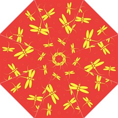 Red And Yellow Dragonflies Pattern Hook Handle Umbrellas (medium)