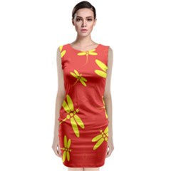 Red And Yellow Dragonflies Pattern Classic Sleeveless Midi Dress