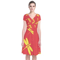 Red And Yellow Dragonflies Pattern Short Sleeve Front Wrap Dress by Valentinaart