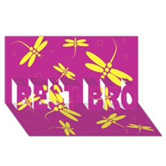 Purple And Yellow Dragonflies Pattern Best Bro 3d Greeting Card (8x4)  by Valentinaart